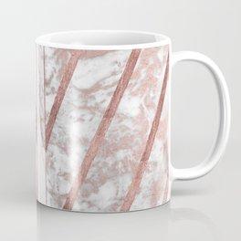 Modern faux rose gold white geometrical marble stripes Coffee Mug