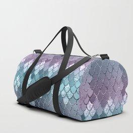 Mermaid Scales Navy Blue Teal Purple Glam #1 #shiny #decor #art #society6 Duffle Bag