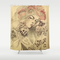 mucha Shower Curtains featuring mucha chicano by paolo de jesus