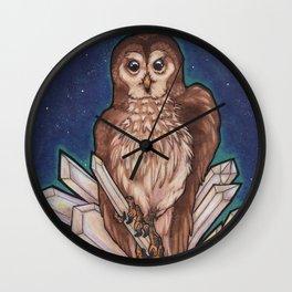 Owl & Crystals Wall Clock