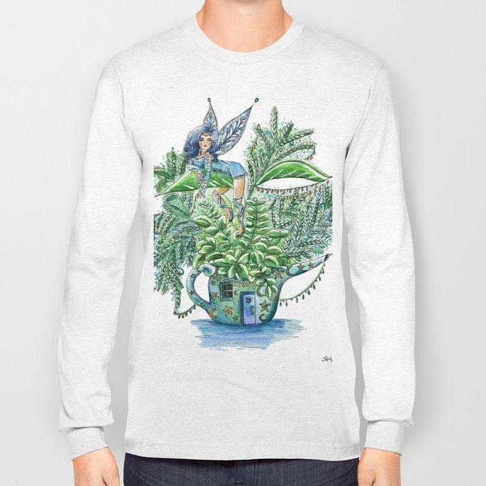 Small Blue Fairy On a Teapot House Long Sleeve T-shirt