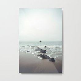 Coastal Waves Beach Ocean Sea Vintage Landscape Photography Metal Print