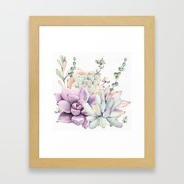 Succulents Mint and Purple by Nature Magick Framed Art Print