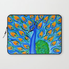 Peacock with Aqua and Turquoise Laptop Sleeve