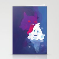 gengar Stationery Cards featuring Gengar eating ice cream by Alvaro Núñez