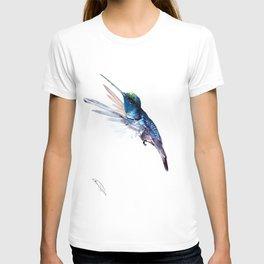 Hummingbird, Navy Blue Turquoise Artwork, minimalist bird art blue T-shirt