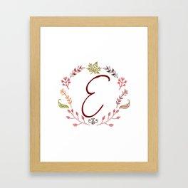 Floral E letter Framed Art Print