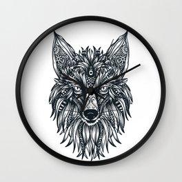 Fox Wolf Tribal Head Wall Clock