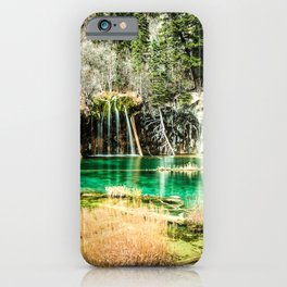 Natures Eternal Beauty // Long Exposure Waterfall and Teal Water Pond in the High Forest iPhone Case
