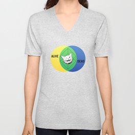 Schrödinger's Cat Venn Diagram Unisex V-Neck