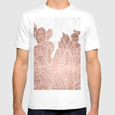 Modern faux rose gold cactus hand drawn pattern illustration white marble White Mens Fitted Tee MEDIUM