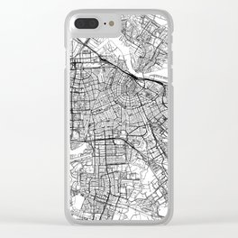 Amsterdam White Map Clear iPhone Case