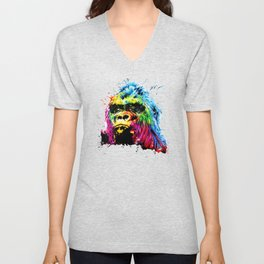 Rainbow Gorilla Unisex V-Neck