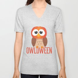 owl Halloween Owloween pumpkin head and bats Unisex V-Neck