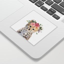 Baby Cheetah with Flower Crown Sticker