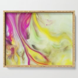 Magnolia Watercolor Abstraction Painting Serving Tray
