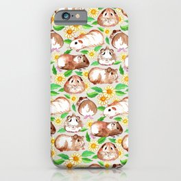 Guinea Pigs and Daisies in Watercolor iPhone Case