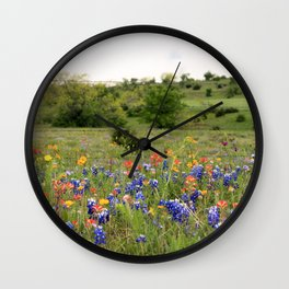 Bluebonnets, Indian Paintbrushes & Wildflowers Wall Clock