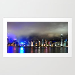 A Night at Victoria Habour Art Print