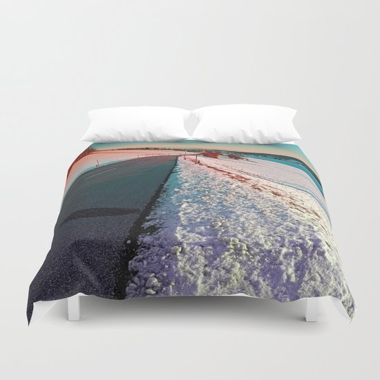 Winter road in vibrant colors Duvet Cover