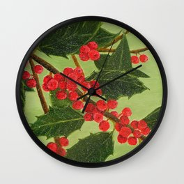 Jolly Holly Berries Wall Clock