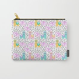 Funny cute teal pink romantic lama black polka dots Carry-All Pouch