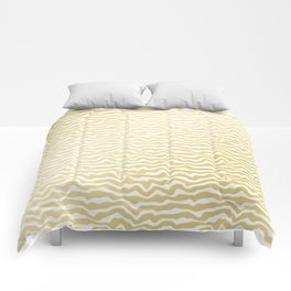 Modern abstract hand painted yellow gold white pattern Comforters