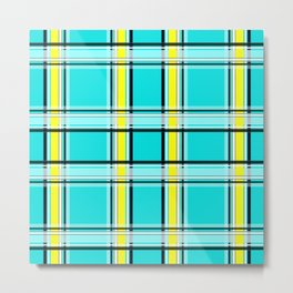 #Turquoise #yellow #plaid Metal Print
