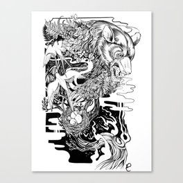 Bear- black and white - illustration Canvas Print