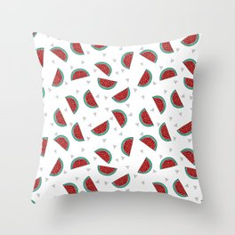 Watermelon triangles white minimal summer spring fruit pattern print by andrea lauren Throw Pillow