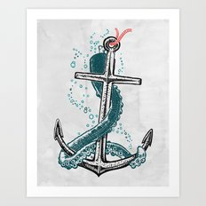 Anchor and Tentacle (Riso edition) Art Print