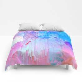 Abstract Candy Glitch - Pink, Blue and Ultra violet #abstractart #glitch Comforters