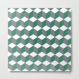 Diamond Repeating Pattern In Quetzal Green and Grey Metal Print