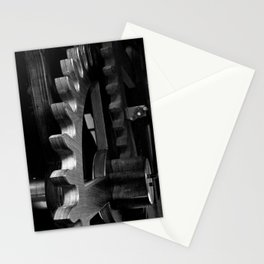 Wooden gears in black and white Stationery Cards
