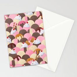 Ice Cream Sundaes - Neapolitan Pattern Stationery Cards