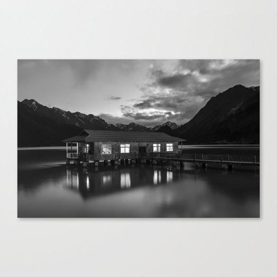 Black and White China Boathouse Canvas Print