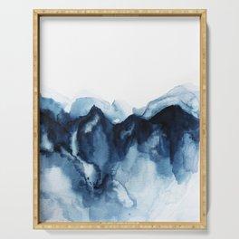 Abstract Indigo Mountains Serving Tray