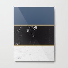 Marble Mix Stripes #3 #black #white #blue #gold #decor #art #society6 Metal Print