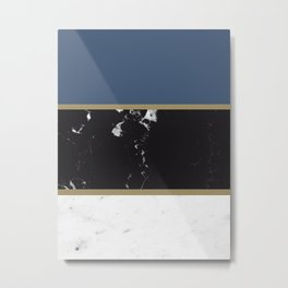 Marble Mix Stripes #3 #black #white #blue #gold #decor #art #society6 Metal Print
