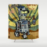 bender Shower Curtains featuring BendR2D2 by Beery Method