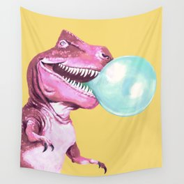 Bubble Gum Pink T-rex in Yellow Wall Tapestry