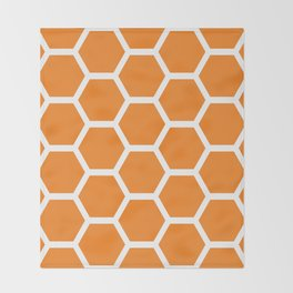 Orange Honeycomb Throw Blanket