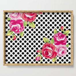 Roses on black dots Serving Tray