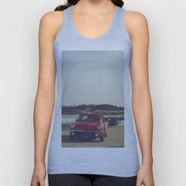 Triumph Spitfire by the sea, with ship, fine art photo, british car, sports car, color, high definit Unisex Tank Top