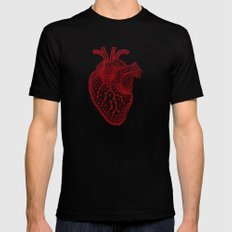 abstract red heart Black MEDIUM Mens Fitted Tee