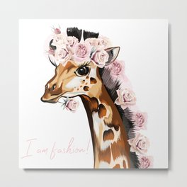 Fashion vector illustration with giraffe and roses. I am style Metal Print