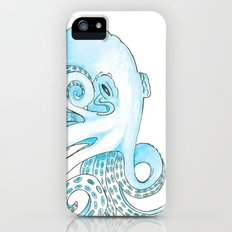 Blue Pen and Watercolor Octopus iPhone SE Slim Case