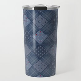 Seamless jeans denim patchwork pattern background Travel Mug