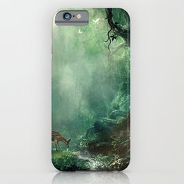 Gorgeous Gracious Deer Mother And Kid Grazing In Magical Forest Clearing Ultra HD iPhone Case