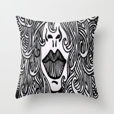 Hair with Lips Throw Pillow